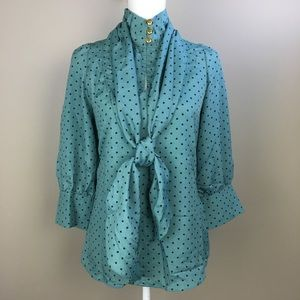 Teal Retro Style High Neck Blouse Attached Scarf S